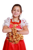 Girl wearing traditional russian costume — Stock Photo