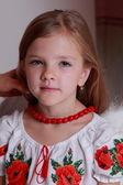 Little girl in Ukrainian national costume — Stock Photo