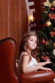 Belle princesse près du sapin — Photo