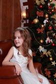 Beautiful princess near the fur-tree — Stock Photo