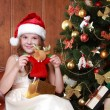 Little girl with Christmas present — Stock Photo #35240119