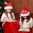 Girls wearing Santa hats holding books — Stock Photo #35242201