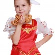 Young girl dance in Russian national suit — Stock Photo #35323051