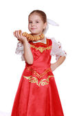 Young girl dance in Russian national suit — Stock Photo