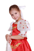 Girl in Russian national suit — Stock Photo