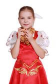 Russian girl wearing traditional costume — Stock Photo
