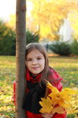 Little child in autumn park — 图库照片