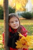 Little child in autumn park — Stock Photo