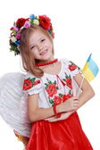 Angel girl in a national Ukrainian suit — Stock Photo