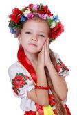 Little girl in a national Ukrainian suit — Stock Photo