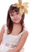 Little girl over Christmas decoration — Stock Photo