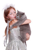 Angel playing with British cat — Stock Photo