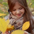 Little girl at autumn park — Stock Photo #35943865
