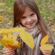 Little girl at autumn park — Stock Photo