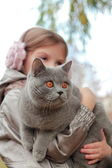 Girl holding british cat at autumn park — Stock fotografie
