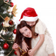 Mother and little girl on Christmas — Stockfoto
