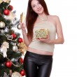 Stock Photo: Girl over fur tree