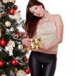 Foto de Stock  : Girl over fur tree