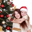 Mother and little girl on Christmas — Stock Photo