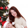 Lovely family portrait on Christmas — Stockfoto