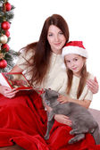 Mother and daughter holding over Christmas tree — Stock Photo