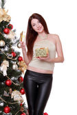 Girl over fur tree — Stock Photo