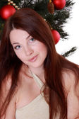 Christmas girl with gift boxes — Stockfoto