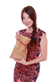 Young woman holding Santa bag — 图库照片