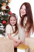 Mamma e bambina il Natale — Foto Stock