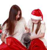 Mother and daughter holding cat over Christmas tree — 图库照片