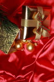 Gift box with golden christmas balls — Stok fotoğraf
