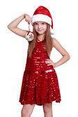 Little santa girl on Christmas — Stock Photo