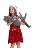 Little girl with her new cat — Stock Photo