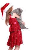 Niña con su gato nuevo — Foto de Stock