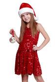 Little Santa girl — Stock Photo