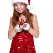 Stock Photo: Girl holding christmas decoration