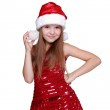 Girl holding christmas decoration — Stock Photo