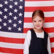 Stock Photo: Girl with americflag