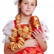 Girl wearing traditional russian costume — Stock Photo #39502293