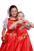 Girls holding traditional matryoshka doll — Stok fotoğraf