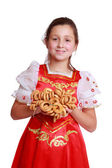 Little girl with round cracknel — Stock Photo