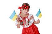 девушка, держа флаги украины — Стоковое фото