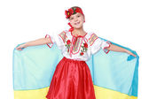 Girl in a beautiful national Ukrainian suit — Stockfoto