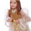 Little angel holding a gold star — Stock Photo #39954671