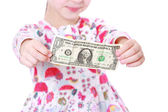 Girl with paper money — Stock Photo