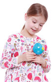 Girl with the globe in hands — Stock Photo