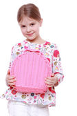 Girl with a pink basket — Stock Photo
