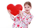 Young girl with huge red heart — Foto de Stock