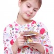 Girl with paper money — Stock Photo #40315275