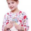Girl with paper money — Stock Photo #40315281